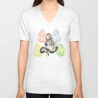 agnes V-neck T-shirts featuring Bravely Default Agnes & Crystals Watercolor by Aini