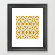 Navajo Diamonds Ivory on Gold Framed Art Print