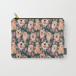 Golden Retriever and flowers on green Carry-All Pouch