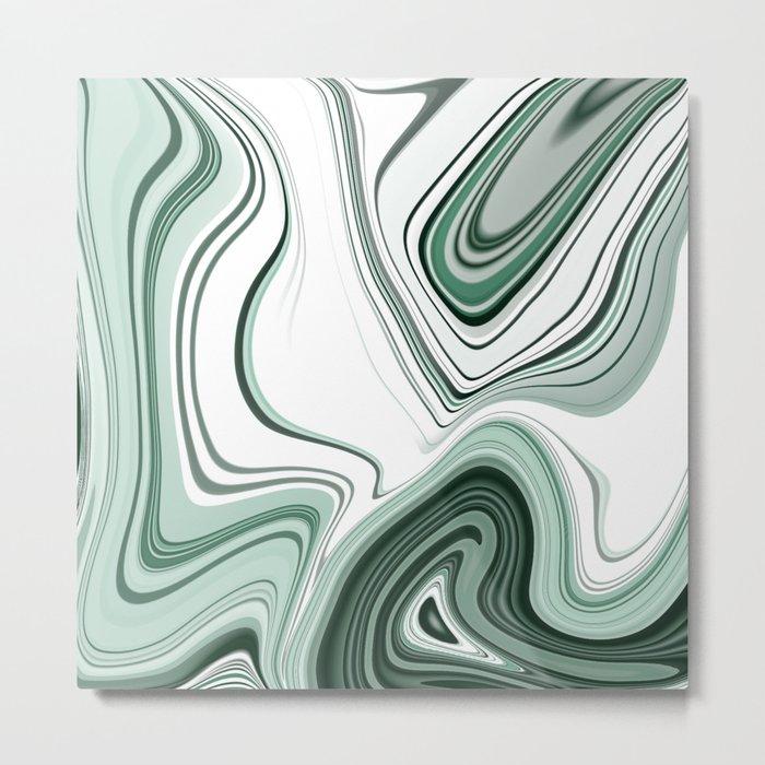 Bold Green Agate Stone Effect Design Metal Print
