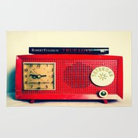 radio Area & Throw Rugs featuring Red Radio by Squint Photography