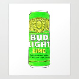 I Love You Bud Light Lime - Ode to Summer Beach Beers Series Art Print