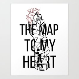 The Map To My Heart Art Print