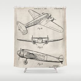 Lockheed Airplane Patent - Electra Aeroplane Art - Antique Shower Curtain