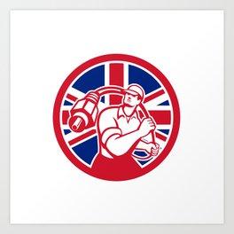 British Cable Installer Union Jack Flag Icon Art Print