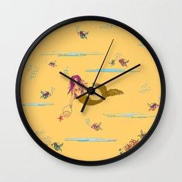 Fashionable mermaid - yellow-orange Wall Clock