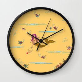 Fashionable mermaid - yellow-orange Wall Clock