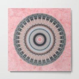 Pastel Pink Rose Textured Mandala Metal Print