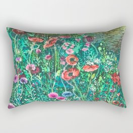 Poppies, Cornflowers and Spring Wildflowers at the Lagoon Rectangular Pillow