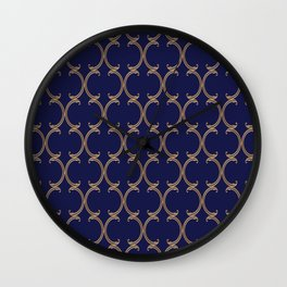 Gold Moroccan Lattice on Navy Wall Clock