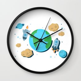Flying Around Earth Wall Clock