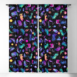 Dinosaur Astronauts In Space Pink Watercolor Pattern Blackout Curtain