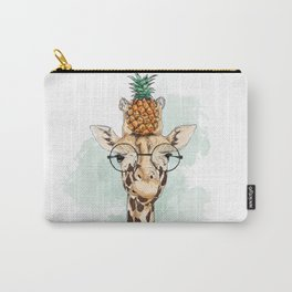 Intelectual Giraffe with a pineapple on head Carry-All Pouch