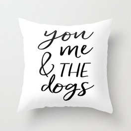 Black And White,Gift For Her,Dog Tag,Dogs Lover,Friends Gift,Quotes,Dog Lovers Gift Throw Pillow