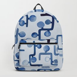 Blue Watercolour Zig Zag Backpack