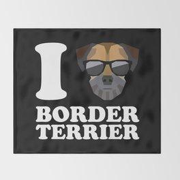 I Love Border Terrier modern v2 Throw Blanket