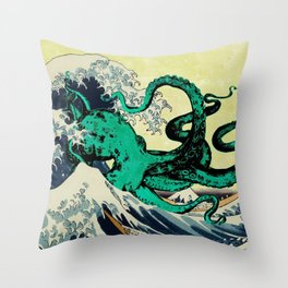 Great Octo-Wave Throw Pillow