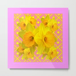 Pink Color Gold Daffodils on Coral Abstract Metal Print