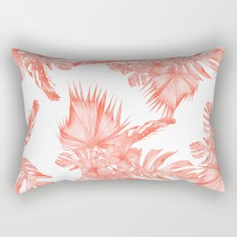 Tropical Palm Leaves Hibiscus Flowers Deep Coral Rectangular Pillow