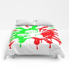 Green and red Paintball Splatter and Mascot Comforters
