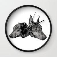 doberman Wall Clocks featuring Doberman by G Boutique