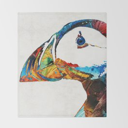 Colorful Puffin Art By Sharon Cummings Throw Blanket