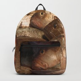 Variety of Fresh Fish Seafood on Ice 2 Backpack