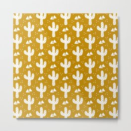 Mustard Gold Cacti Metal Print