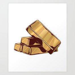 Gold bars gold Art Print