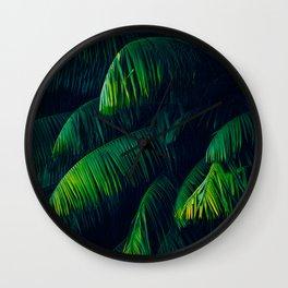 Green Lush Tropical Palm Tree Leaves Dark Background Wall Clock