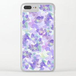 Hand painted watercolor violet lilac lavender green floral Clear iPhone Case