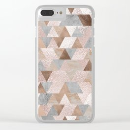Copper and Blush Rose Gold Marble Triangles Clear iPhone Case