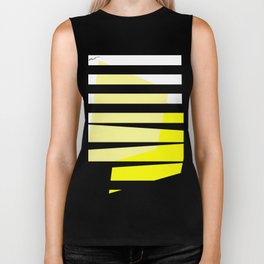 Yellow Abstract Black Stripes Biker Tank