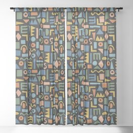 Colorful Shapes Sheer Curtain