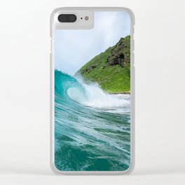 Beautiful Blue Hollow Waves Clear iPhone Case