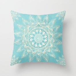 Elegant White Gold Mandala Sky Blue Design Throw Pillow