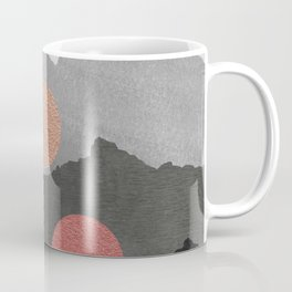 Abstract Mountains // Shades of Black and Grey Landscape Full Metallic Gold Moon Coffee Mug