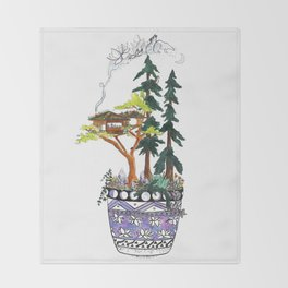 Forest Tree House - Woodland Potted Plant Throw Blanket