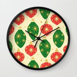 Vintage Festive Hand-painted Christmas Tree Ornaments with Beautiful Acrylic Texture, Green and Red Wall Clock