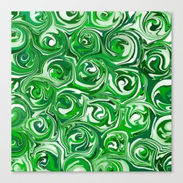 Emerald Green, Green Apple, and White Paint Swirls Canvas Print