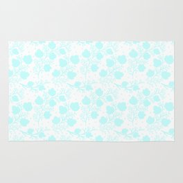 Hand painted watercolor teal polka dots floral pattern Rug