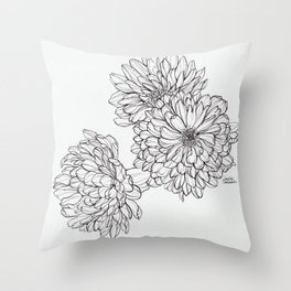 Ink Illustration of Summer Blooms Throw Pillow