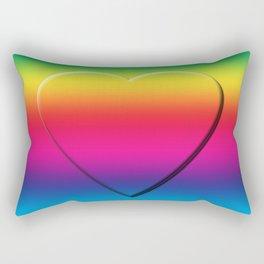 One Heart Rainbow Rectangular Pillow