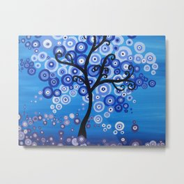 blue sea, tree of life - shades of blue with bubble leaves Metal Print