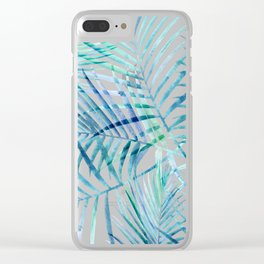 Tropical Palm Pattern Clear iPhone Case