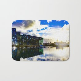 Arctic Circle Sunset Behind a Ship on the Sea behind the Harpa Concert Hall in Reykjavik, Iceland Bath Mat