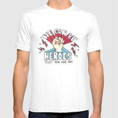 We can be Heroes - Bowie Mens Fitted Tee White MEDIUM