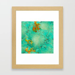 Crackeled Turquoise Stone Framed Art Print