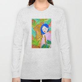Short Hair Girl and Leopard in Garden Long Sleeve T-shirt