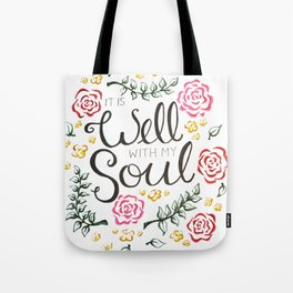 It is Well Floral Script Tote Bag